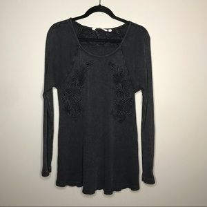 Soft Surroundings gray/black tunic top sz M